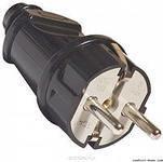 Вилки электрические Вилка прямая с заземлением, черная 16А/250В TDM Крепика дом крепежных материалов